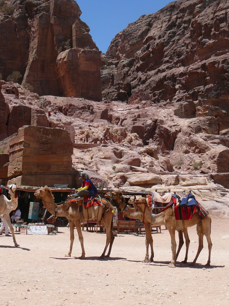 Bedouins on camels are one of many colourful sights at Petra.