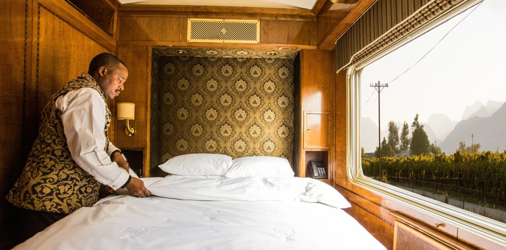 A-double-bed-in-a-luxury-cabin-Blue-Train-South-Africa.