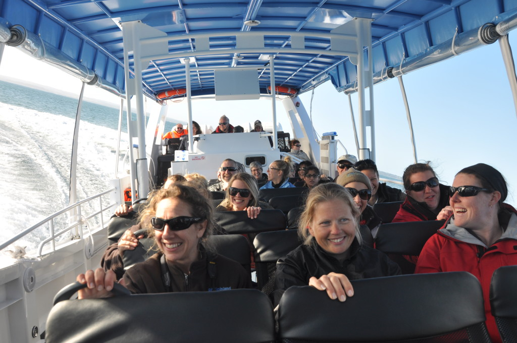 There were plenty of smiles on the faces of staff on the first practice run of Phillip Island's new EcoBoat tour.