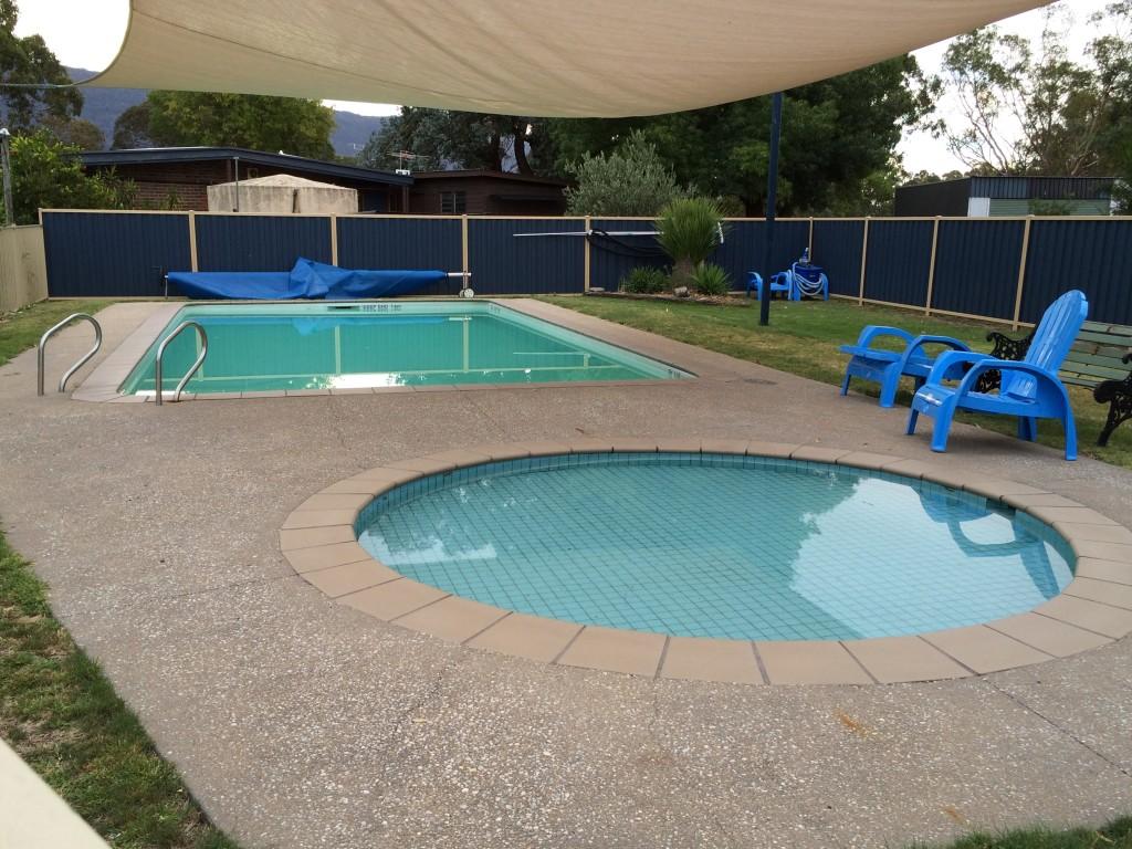 The swimming pool, Halls Haven Resort, the Grampians, Victoria