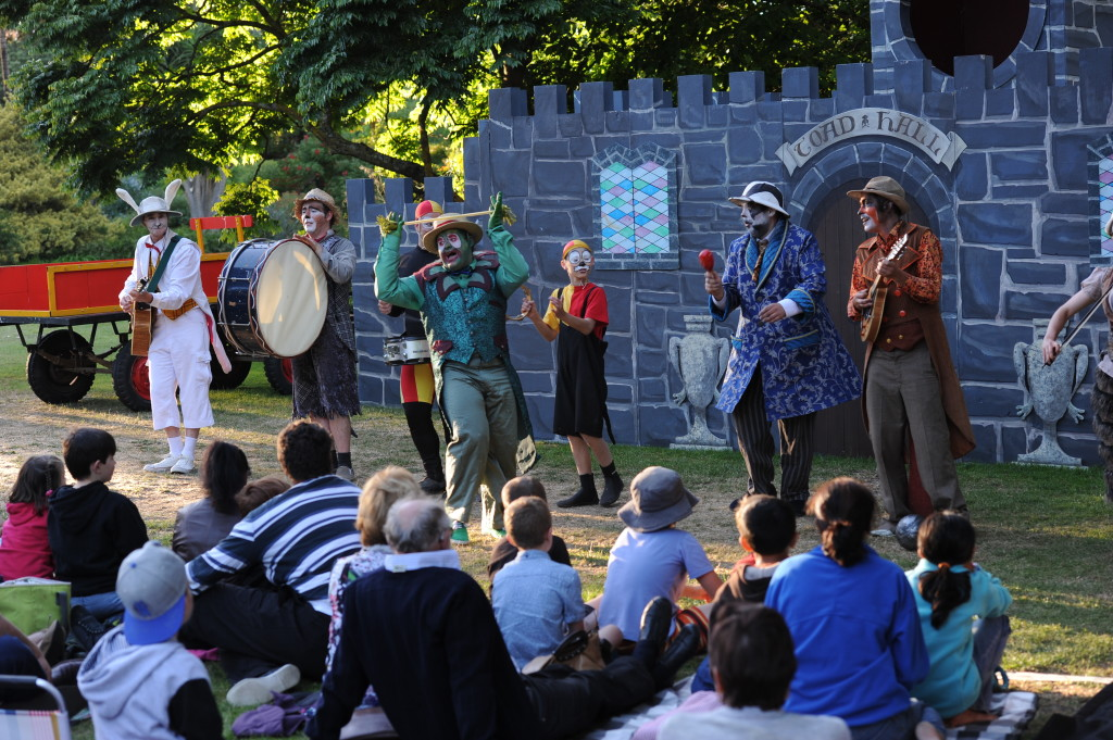 Cast Sing At Toad Hall from left Rabbit(Roscoe Mathers)Ratty(Leigh Piper)Toad(Ryan Hawke)Portly(Dante Arestia)Badger(Ben Noble)Weasel(Paul Morris). Image courtesy of Australian Shakespeare Company. Photographer Matt Deller.