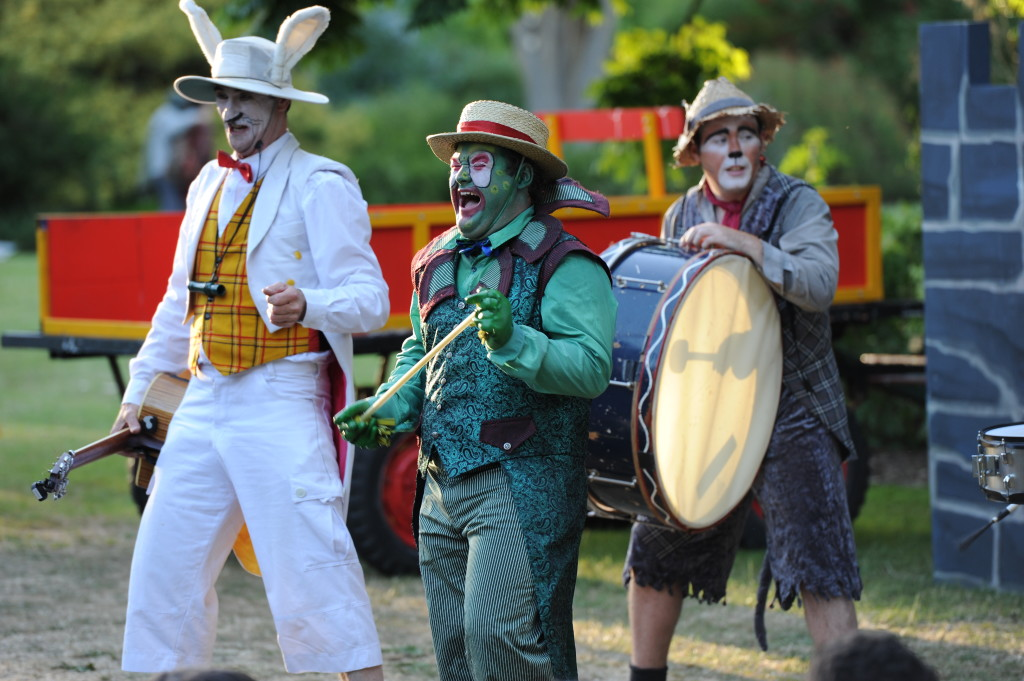 Head Chief Rabbit(Roscoe Mathers)Toad(Ryan Hawke)And Ratty(Leigh Piper)in action. Image courtesy of Australian Shakespeare Company. Photographer Matt Deller.