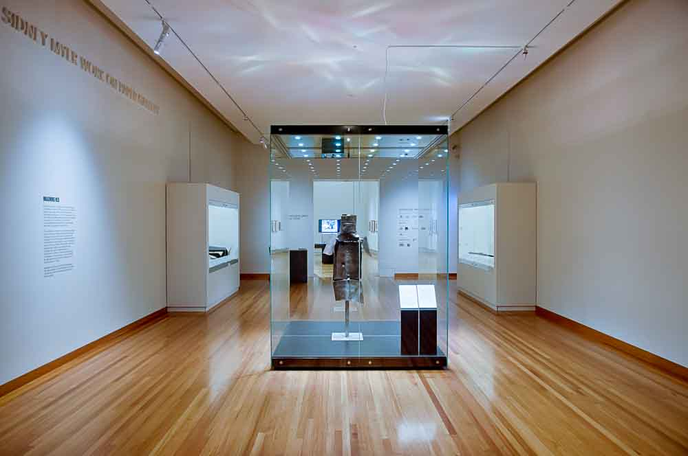 Ned Kelly's amour on display at the Bendigo Art Gallery.  Image courtesy Bendigo Art Gallery