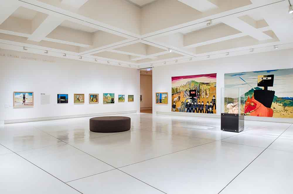 One of the rooms devoted to Kelly at Bendigo Art Gallery's Imagining Ned exhibition. Image courtesy Bendigo Art Gallery.
