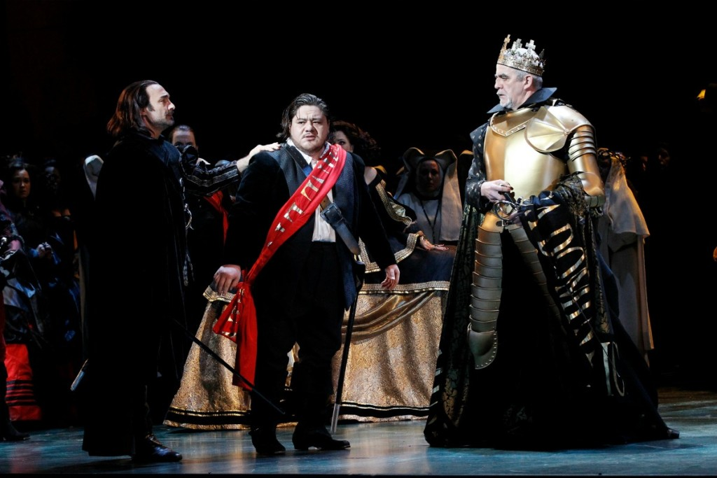 José Carbó (Rodrigo, Count of Posa), Diego Torre (Don Carlos) and Giacomo Prestia (Philip II) in Opera Australia's Don Carlos. Picture by Jeff Busby.