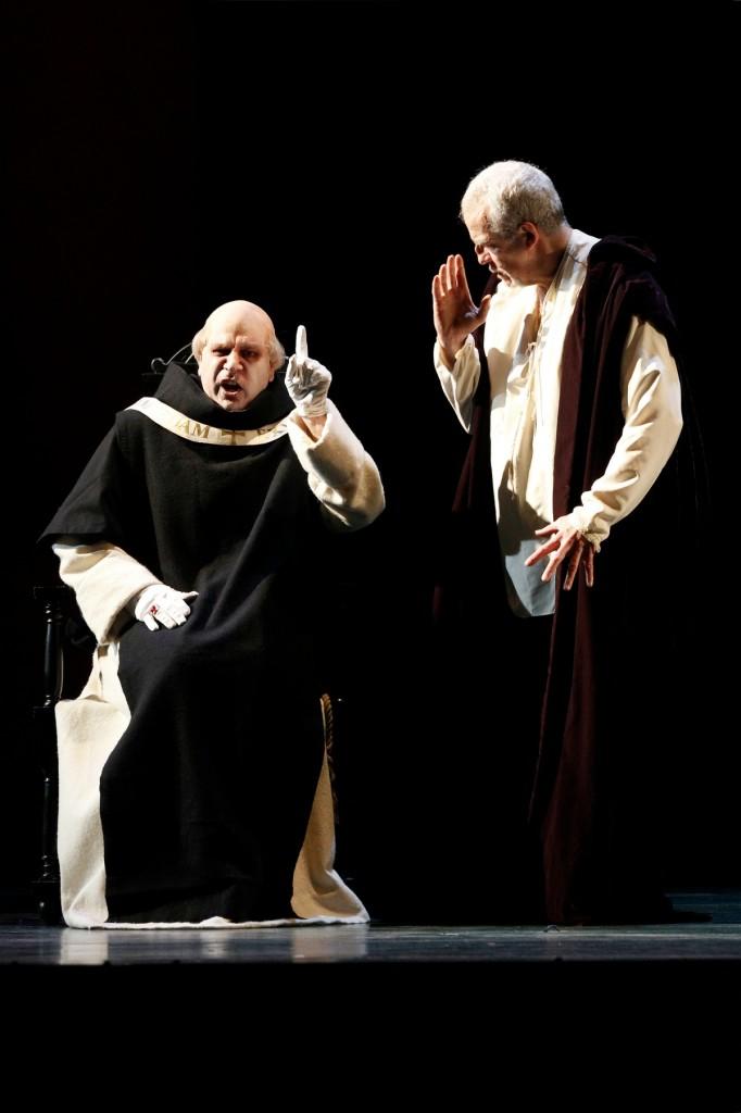 Daniel Sumegi (Grand Inquisitor) and Giacomo Prestia (Philip II) in Opera Australia's Don Carlos. Picture by Jeff Busby.