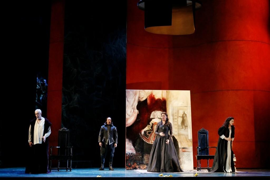 Giacomo Prestia (Philip II), José Carbó (Rodrigo, Count of Posa), Milijana Nikolic (Princess Eboli) and Victoria Yastrebova (Elisabeth de Valois) in Opera Australia's Don Carlos. Picture Jeff Busby.