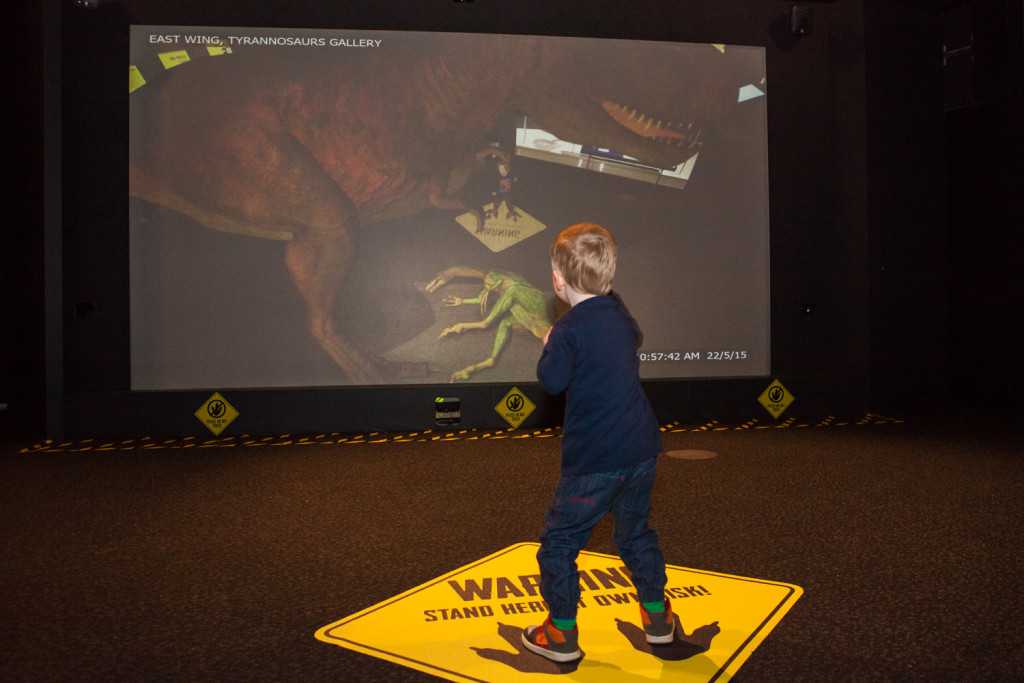 The immersive projections at Scienceworks' Tyrannosaurs Meet the_Family exhibition. Picture by Mark Gambino.