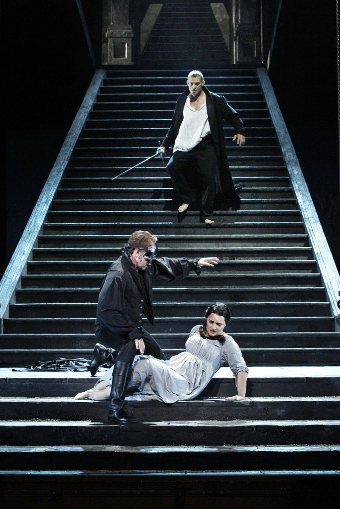 Jud Arthur with Teddy Tahu Rhodes and Emma Matthew in Opera Australia's Don Giovanni. Picture by Jeff Busby.