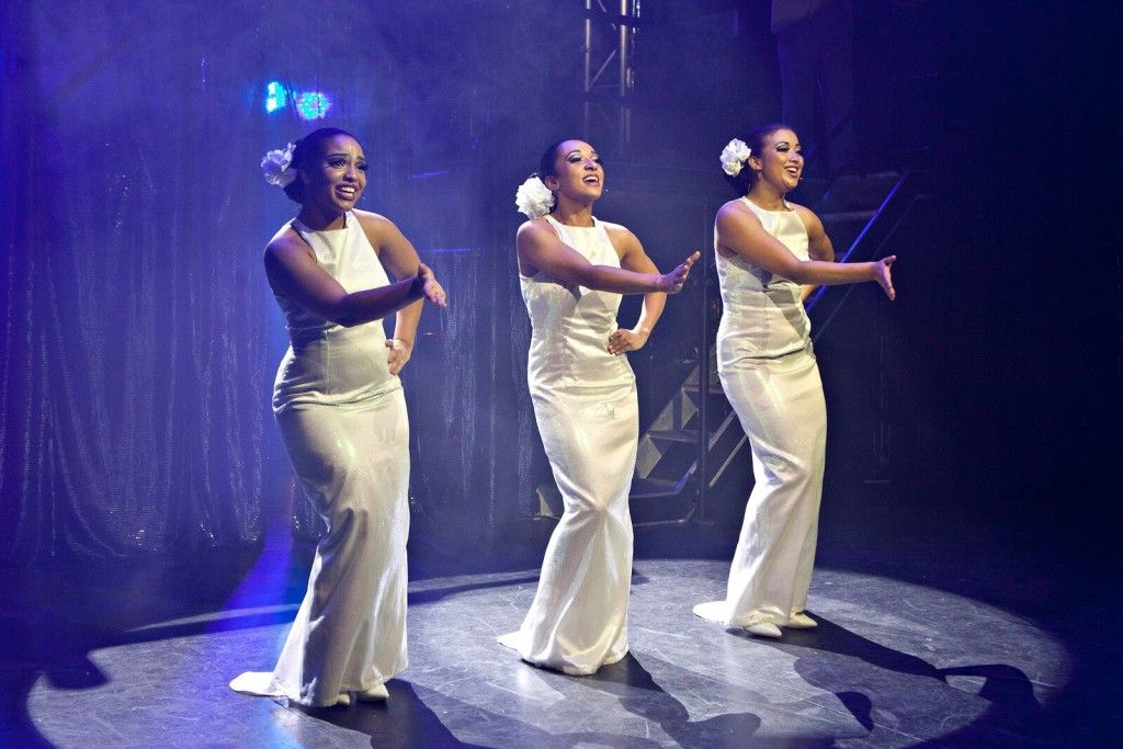 Zenya Carmellotti, Anna Francesca Armenia and Sharon Wills in Dreamgirls. Picture by Belinda Strodder.