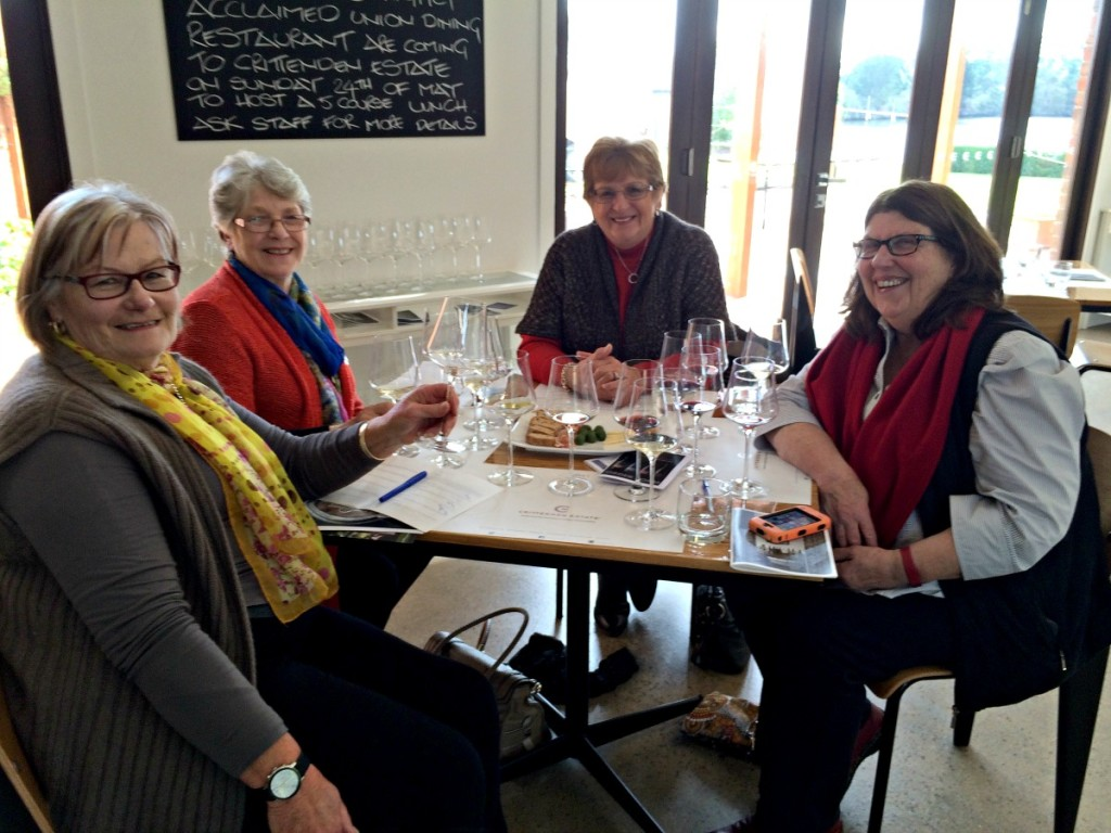 These four ladies were celebrating a major birthday with a `wine flight.'