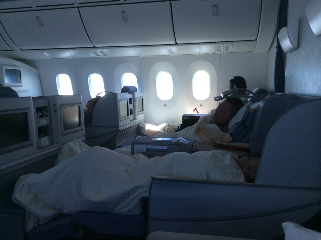 Inside the business class cabin of the Boeing 787 which flies between London and Guangzhou.