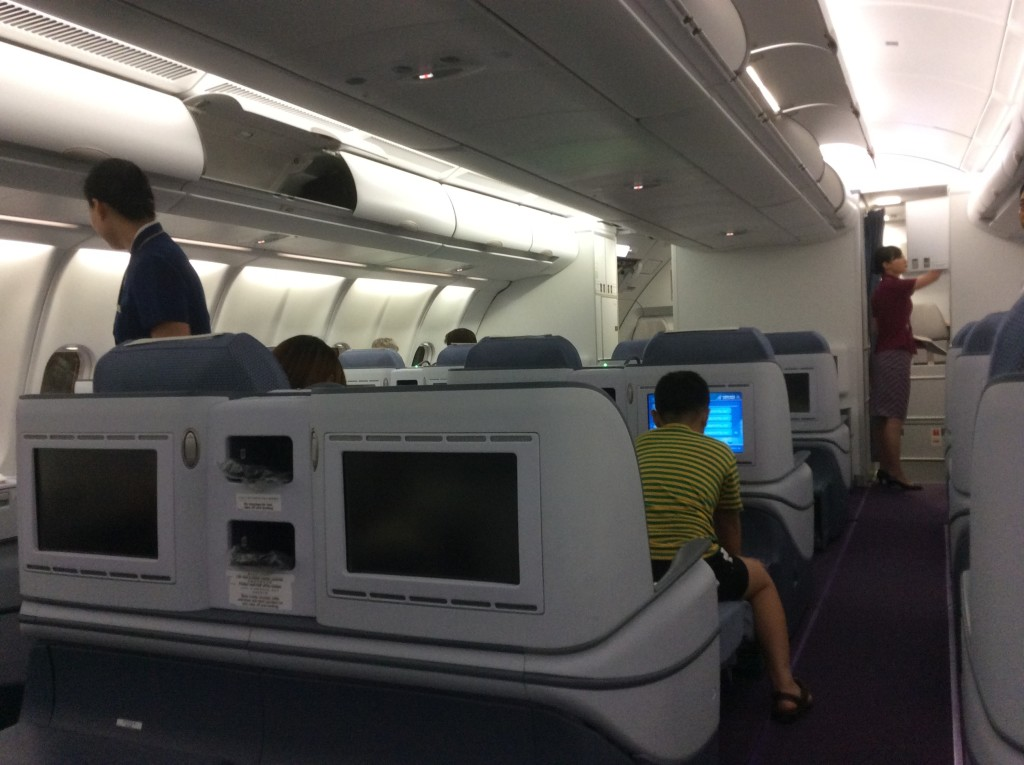The A330 business class cabin on the Melbourne to Guangzhou flight