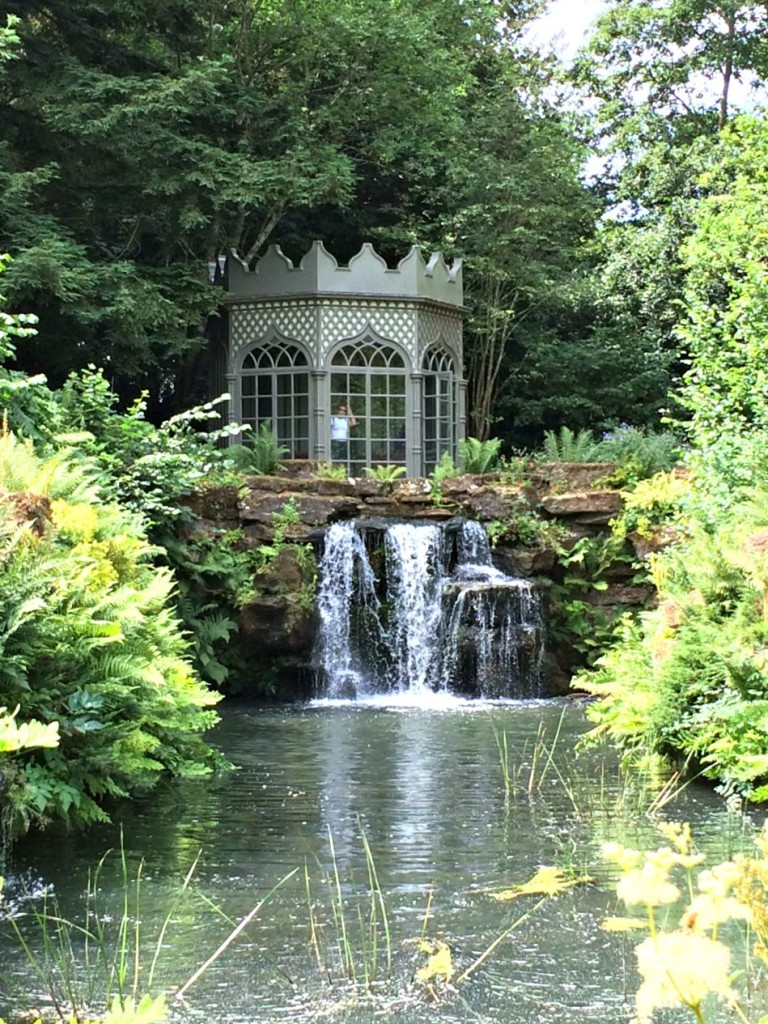 The Summer House and waterfall.