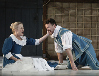 Taryn Fiebig (Susanna) and Andrew Jones (Figaro) in Opera Australia's The Marriage of Figaro.