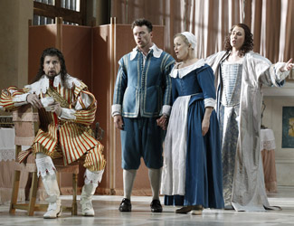 Shane Lowrencev (Count), Andrew Jones (Figaro), Taryn Fiebig (Susanna) and Jane Ede (Countess) in Opera Australia's The Marriage of Figaro.