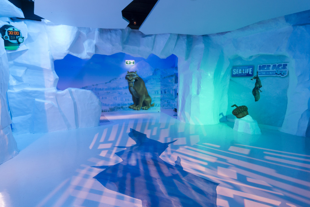 The pre show area of Sea Life Melbourne Aquarium's new attraction Ice Age 4-D.