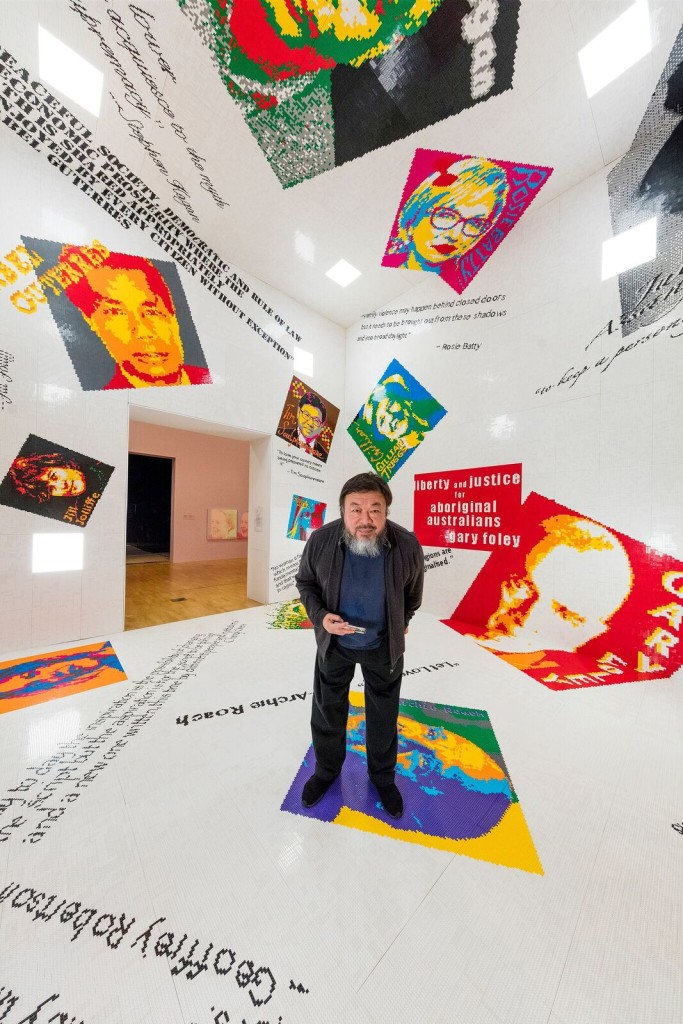 Ai Weiwei at National Gallery of Victoria exhibition Andy Warhol. Ai Weiwei , 11 December 2015 - –24 April 2016. Ai Weiwei artwork © Ai Weiwei. Image John Gollings.