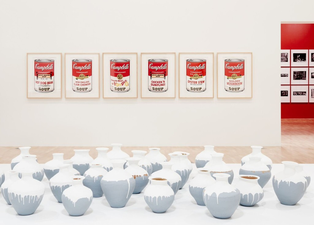 Installation view of the Andy Warhol | Ai Weiwei exhibition at the National Gallery of Victoria, 11 December 2015 –24 April 2016. Andy Warhol artwork © 2015 The Andy Warhol Foundation for the Visual Arts, Inc./ARS, New York. Administered by Viscopy, Sydney; Ai Weiwei artwork © Ai Weiwei. Photo: Brooke Holm