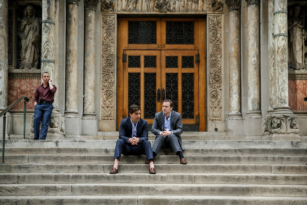 Left to right: Jeremy Strong plays Vinnie Daniel, Hamish Linklater plays Porter Collins and Rafe Spall plays Danny Moses in The Big Short from Paramount Pictures and Regency Enterprises