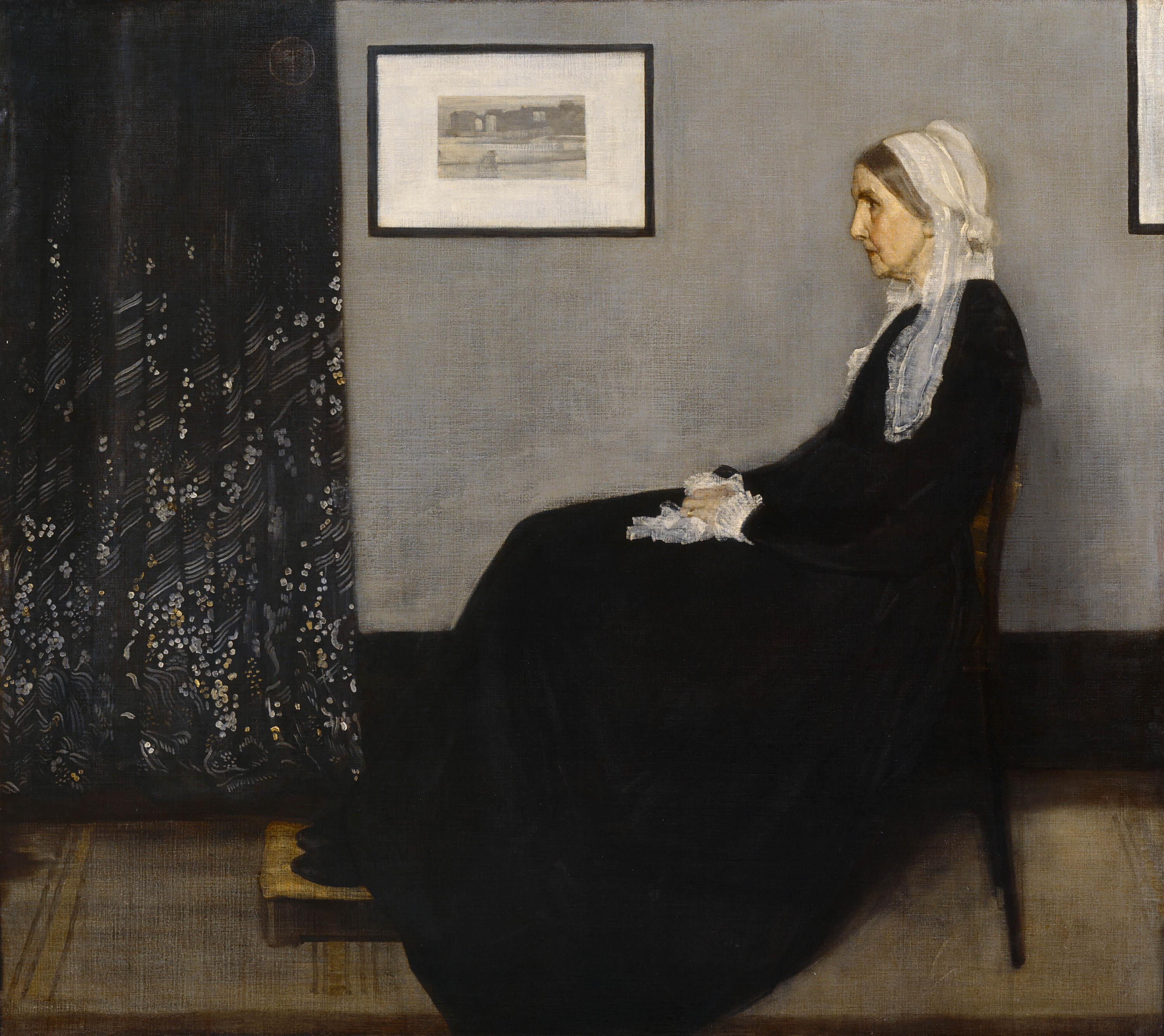 James McNeill Whistler American 1834–1903, worked in France 1855–59, England 1859–1903, Arrangement in grey and black no. 1 (Portrait of the artist's mother) 1871 oil on canvas. 144.3 x 162.5 cm Musée d'Orsay, Paris (RF 699)