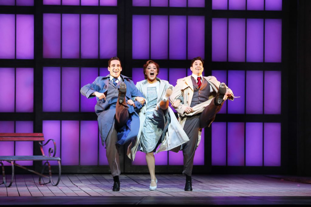 Jack Chambers, Gretel Scarlett and Adam Garcia in Singin in the Rain