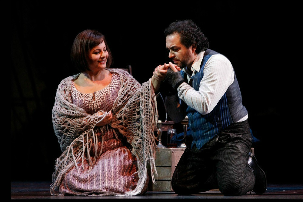 Lianna Haroutounian (Mimì) and Gianluca Terranova (Rodolfo) in Opera Australia's La Bohème.