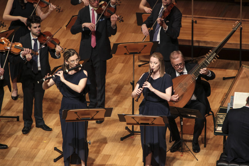 Flautist Melissa Farrow and recorder player Mikaela Oberg with other members of the ABO