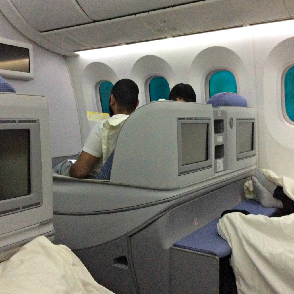 The cabin of the B787 which flies between Guangzhou and London