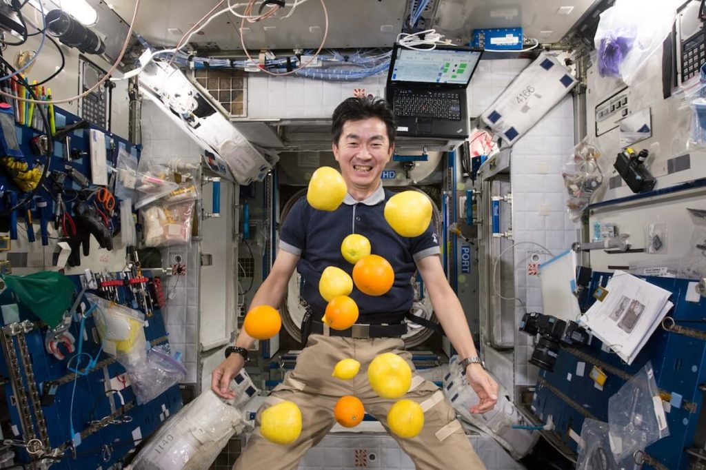 A scene from the IMAX® film A Beautiful Planet – Japan Aerospace Exploration Agency (JAXA) astronaut Kimiya Yui unpacks a supply of fresh fruit delivered to the International Space Station via Japan's Kounotori 5 H-11 (HTV-5) unmanned cargo transfer spacecraft. © 2016 IMAX Corporation Photo courtesy of NASA From IMAX Entertainment and director Toni Myers and narrated by Jennifer Lawrence, A Beautiful Planet is a stunning glimpse of Earth from space, bringing a heightened awareness of our planet—and the effects of humanity over time—as never seen before. Exclusive IMAX® 2D and 3D engagements begin April 29, 2016. © 2016 IMAX Corporation.