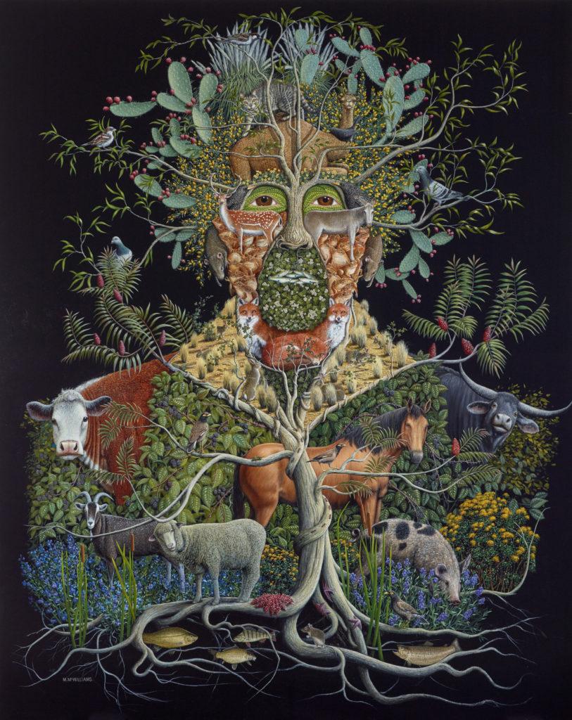 Michael McWilliams The usurpers (Self-portrait) acrylic on linen 200 x 160 cm