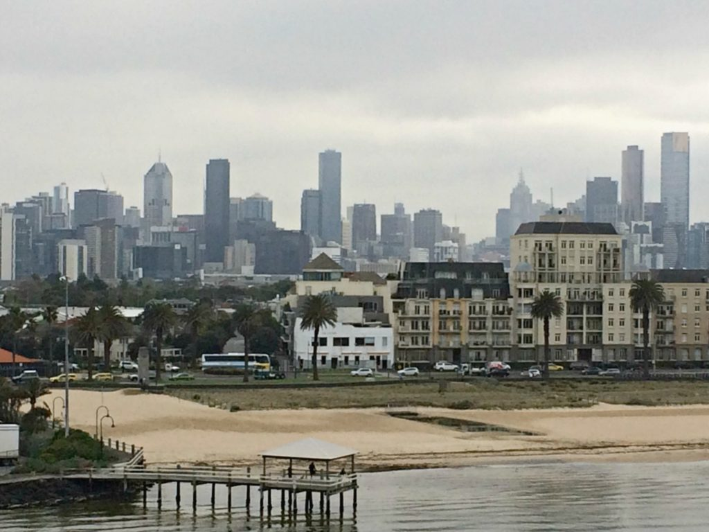 The view of Port Melbourne from the Spirit of Tasmania.