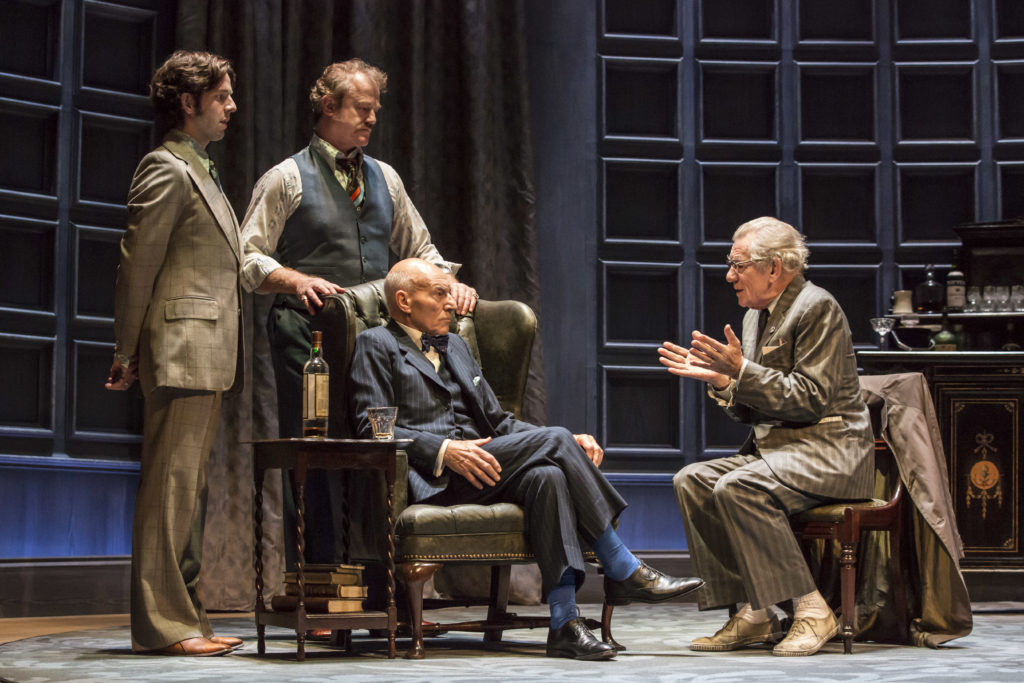 The cast members of No Man's Land -Damien Molony, Owen Teale and Patrick Stewart and Ian McKellen.