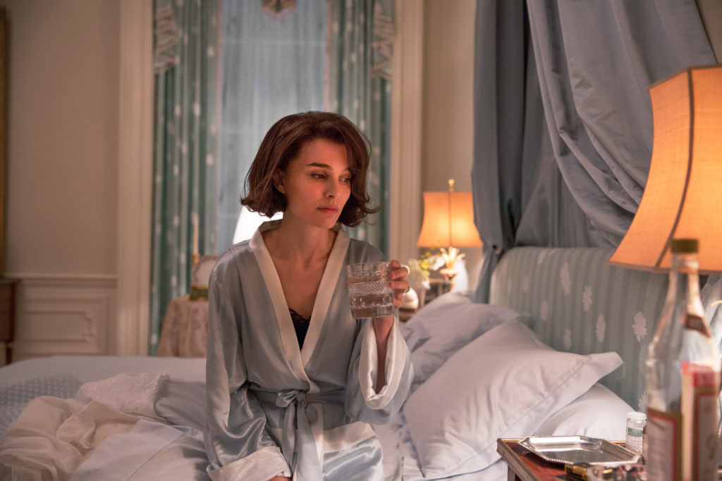 Jackie (Natalie Portman) in her bedroom at the White House.