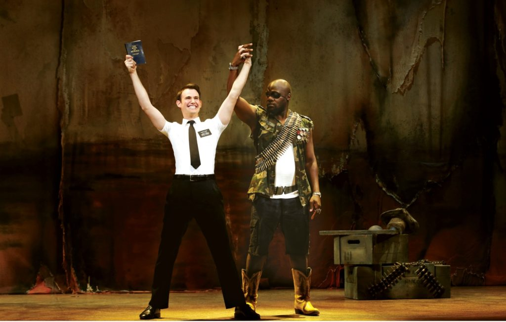 Ryan Bondy and Augustin-Aziz Tchantcho in The Book of Mormon© Jeff Busby