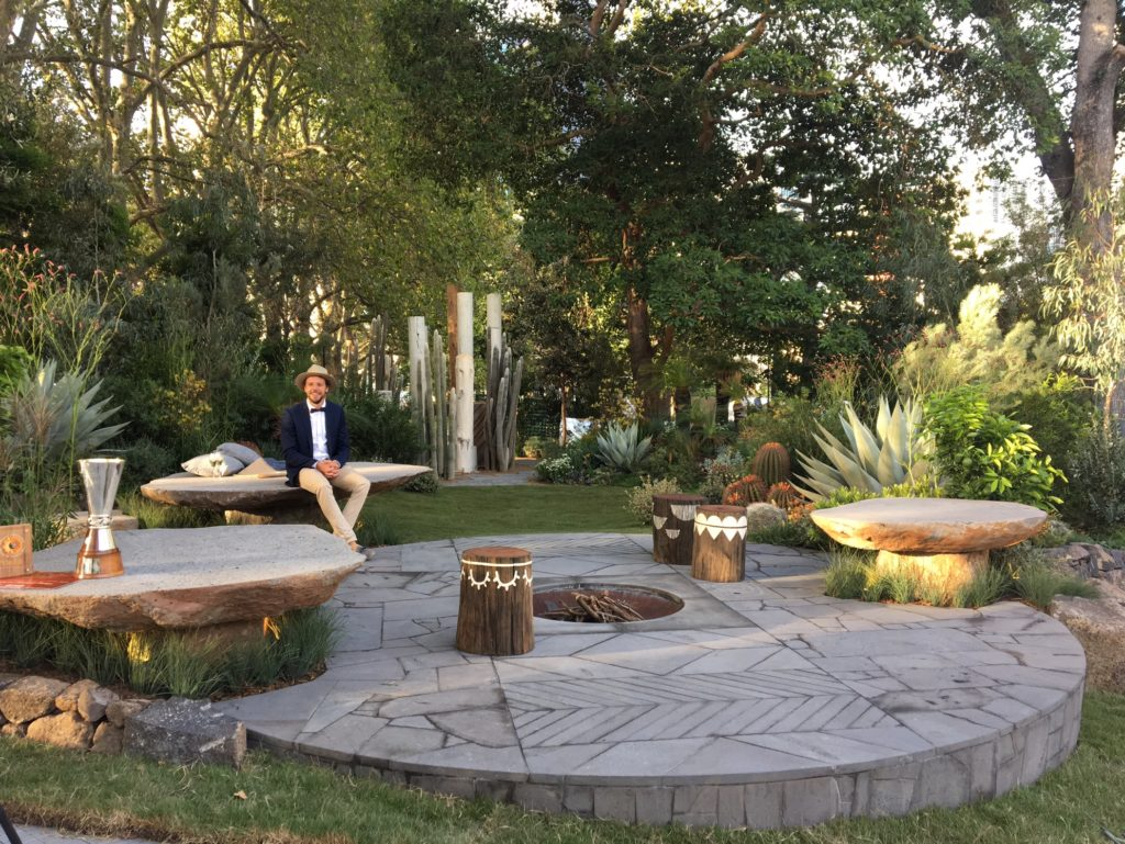 Phillip Withers in his award winning garden at the Melbourne International Flower and Garden Show.