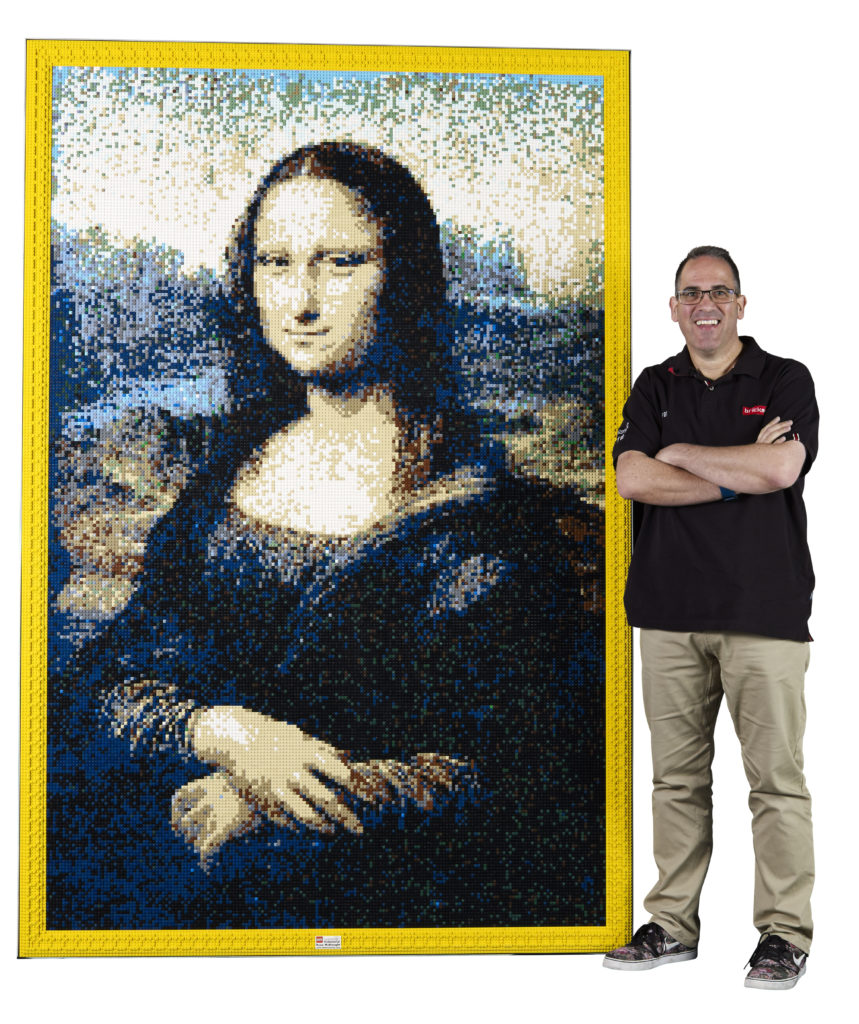 Ryan 'The Brickman McNaught' in front of his Mona Lisa.