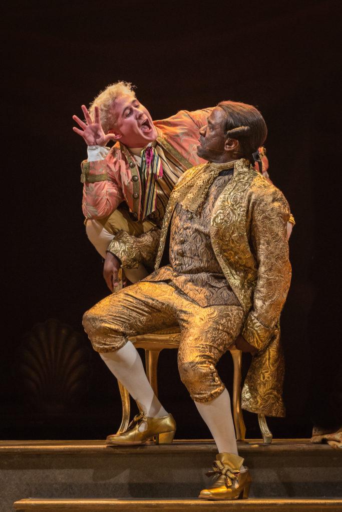 Adam Gillen as Wolfgang Amadeus Mozart with Lucian Msamati - Antonio Salieri.