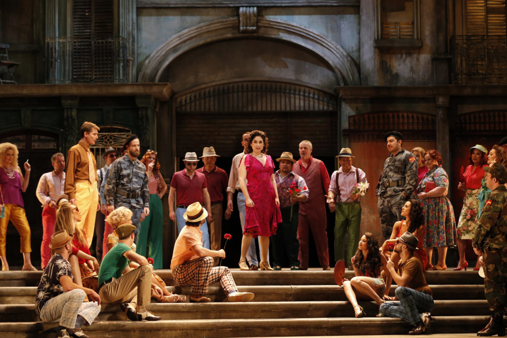 Rinat Shaham as Carmen and the Opera Australia Chorus in Opera Australia's 2017 production of Carmen.