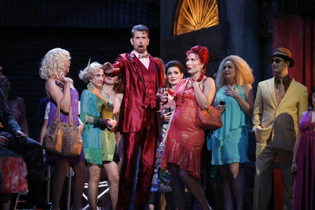 Sian Pendry as Mercédès, Shane Lowrencev as Escamillo, Jane Ede as Frasquita and the Opera Australia Chorus in Opera Australia's 2017 production of Carmen.