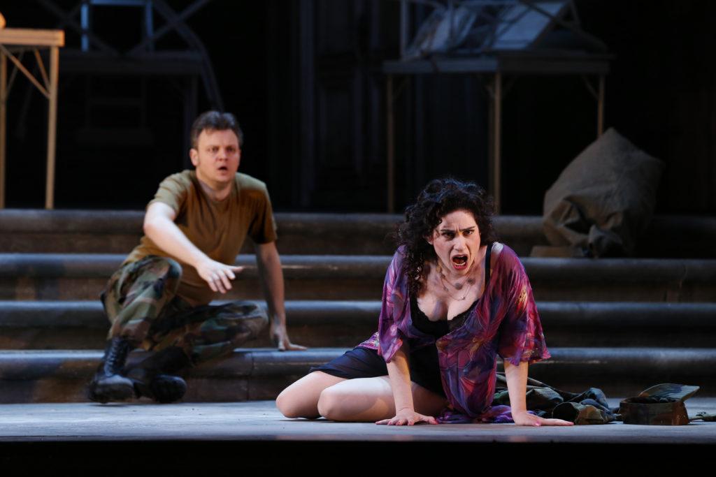 Dmytro Popov as Don José and Rinat Shaham as Carmen in Opera Australia's 2017 production of Carmen.