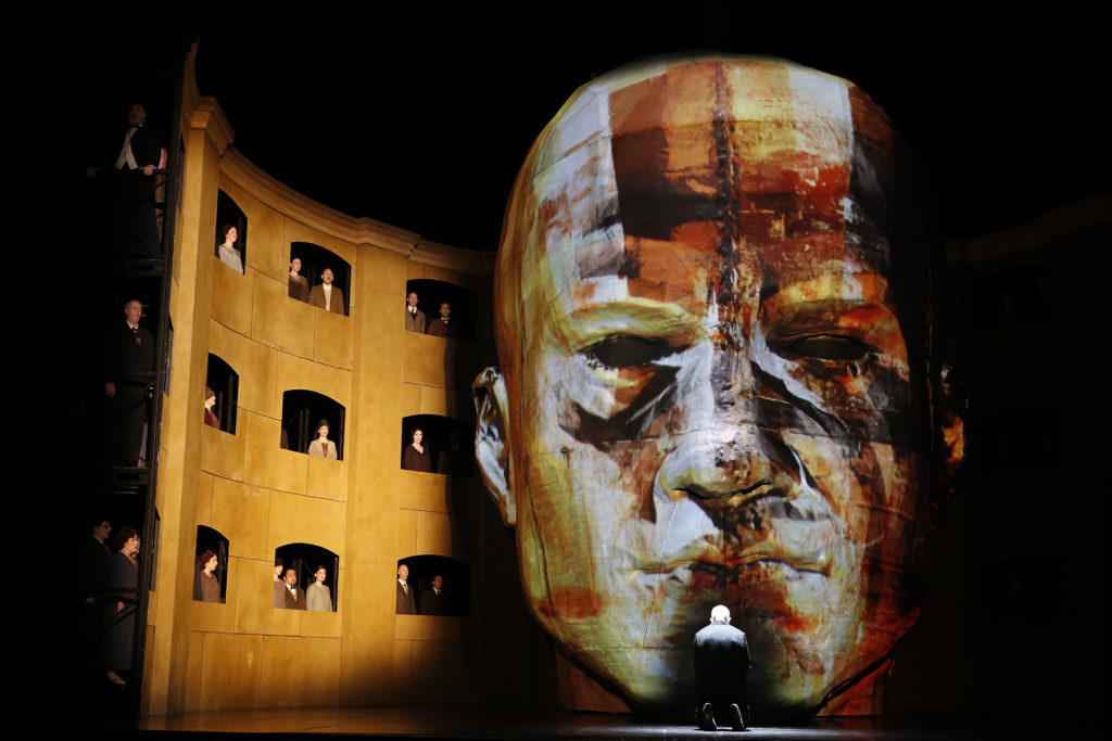 The head which dominated the stage changed in colour throughout the first two acts.