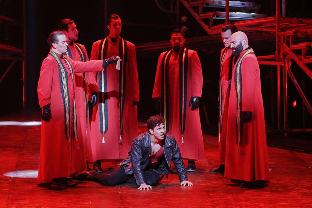 Zoy Frangos and the priests in Jesus Christ Superstar.