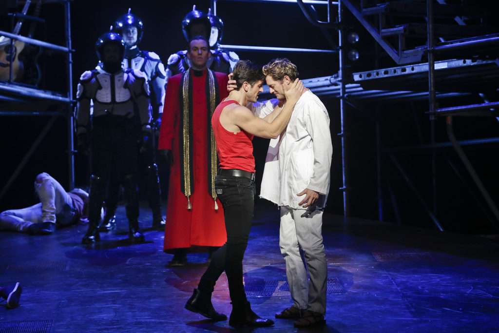 Zoy Frangos and Rob Mills in Jesus Christ Superstar.