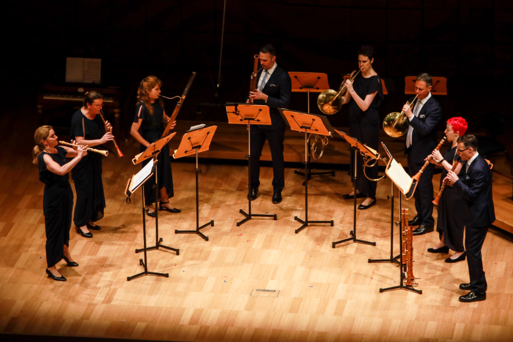 Members of the ABO's wind section performing Harmoniemusik from Mozart's The Abduction from the Seraglio,