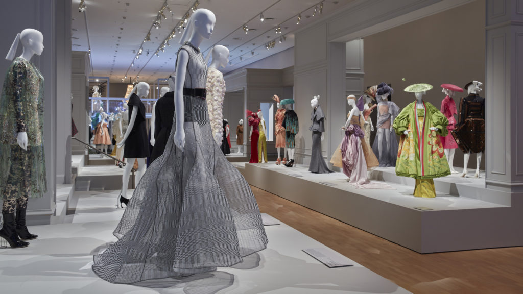 Some of the many clothes on display at the Dior exhibition at NGV International.