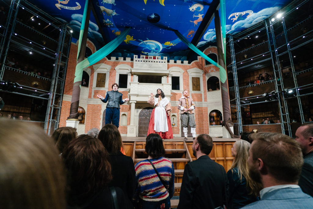 The Pop Up Globe Theatre with some of the cast of As You Like It.
