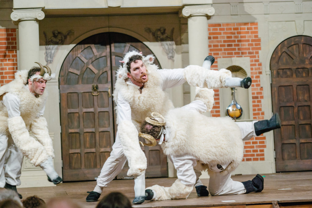 The cast play numerous roles including badly behaved sheep.