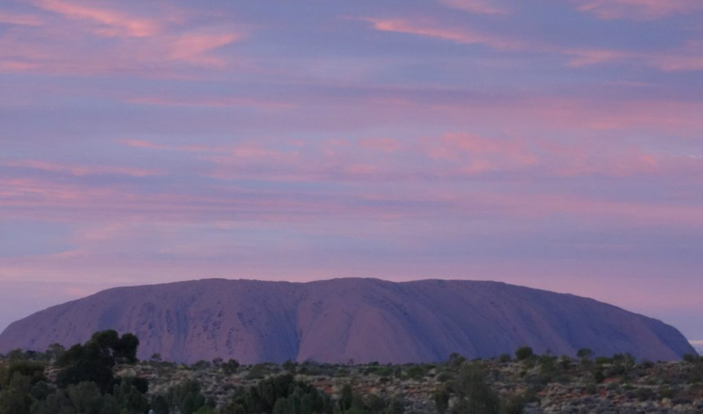 The view of Uluru from the resort's lookout.