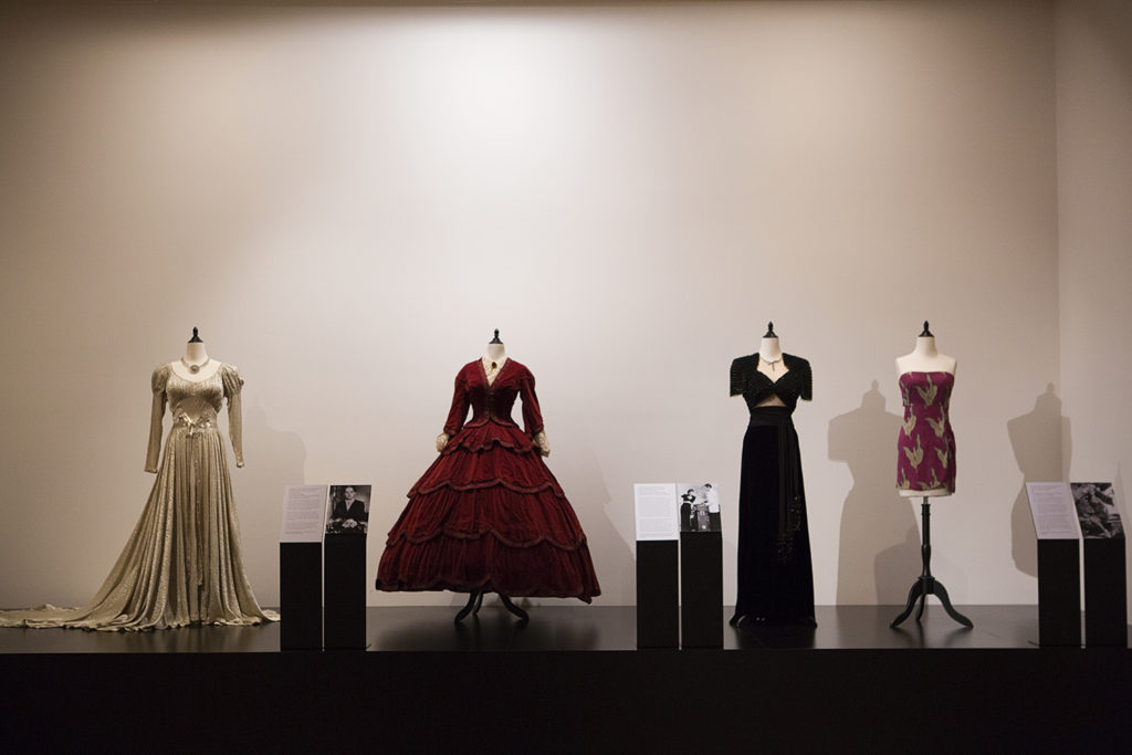 Costumes on display as part of The Costume Designer: Edith Head and Hollywood showing at Bendigo Art Gallery.